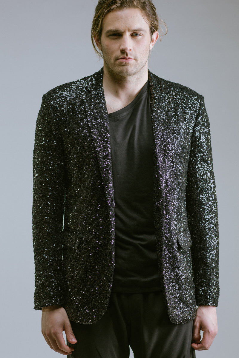 Any Old Iron Black Sequin Blazer , Mens Jacket - ANY OLD IRON,  - 1