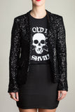 Any Old Iron Black Sequin Jacket , Womans Jackets - ANY OLD IRON,  - 1