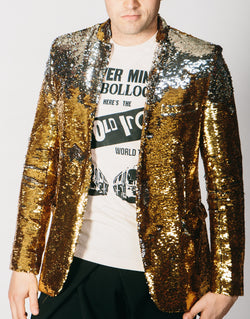 Any Old Iron Gold/Silver Sequin Suit Jacket , Mens Jackets - ANY OLD IRON,  - 1