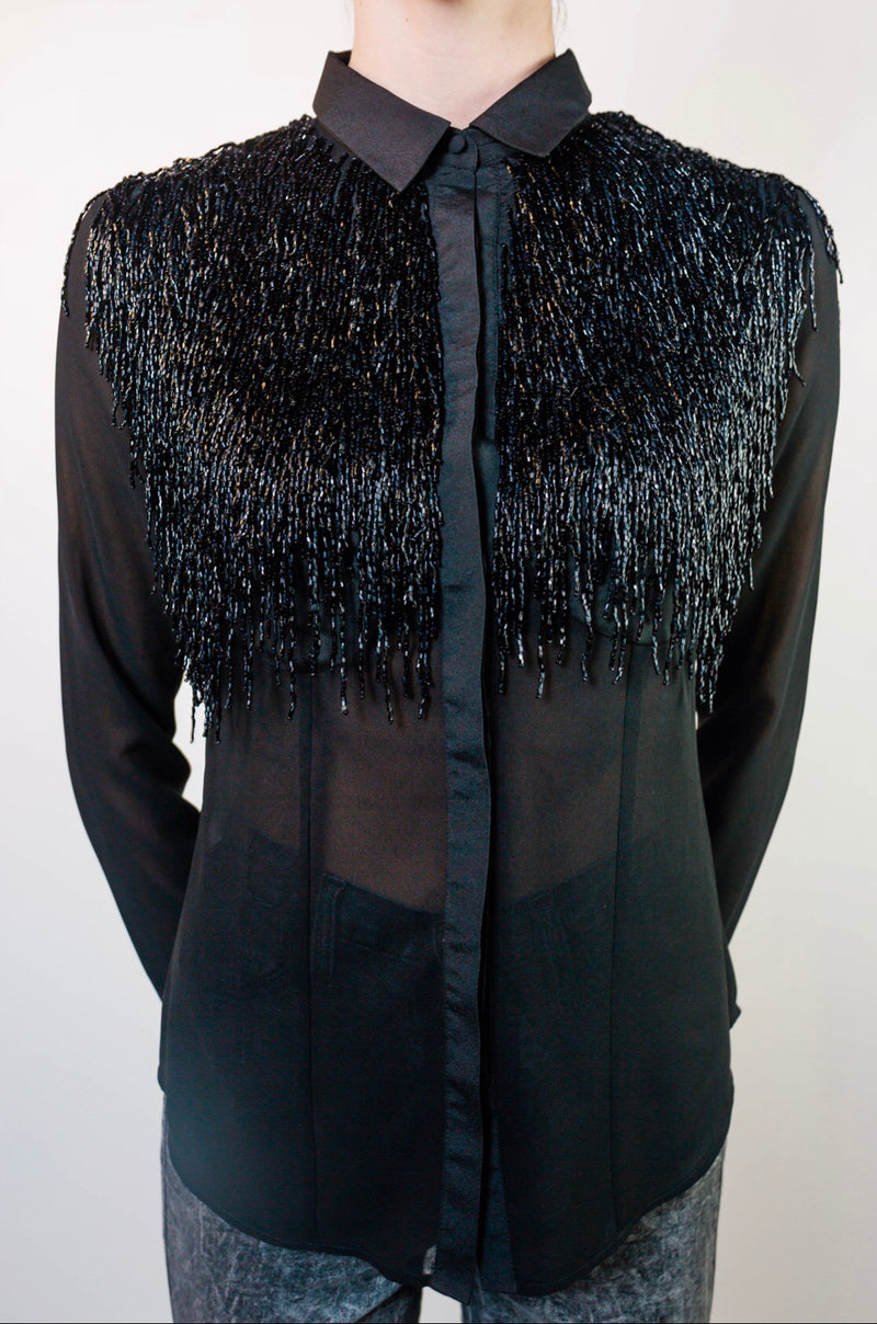 Any Old Iron Beaded Fringe Shirt