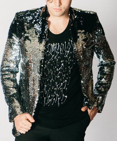 Any Old Iron Black/Silver Sequin Jacket , Mens Jackets - ANY OLD IRON,  - 1