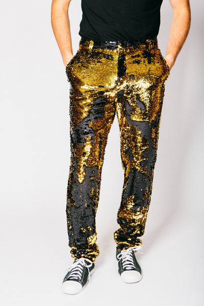 Any Old Iron Gold/Black Sequin Trousers , Mens Bottoms - ANY OLD IRON,  - 1