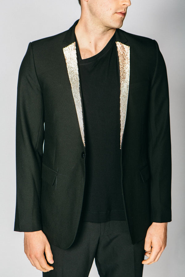 Any Old Iron Rose Gold Diamanté Lapel Blazer , Mens Jacket - ANY OLD IRON,  - 1