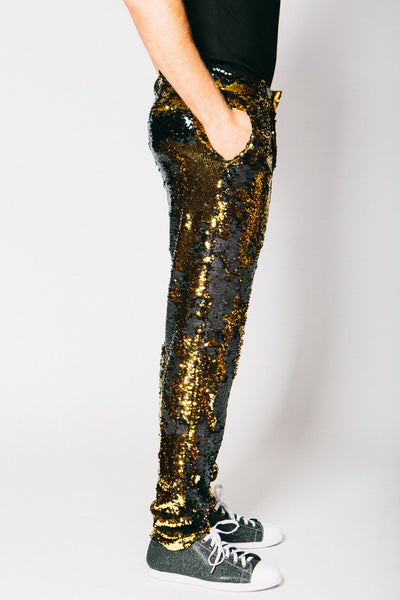 Any Old Iron Gold/Black Sequin Trousers , Mens Bottoms - ANY OLD IRON,  - 2