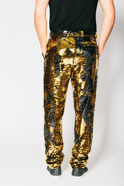 Any Old Iron Gold/Black Sequin Trousers , Mens Bottoms - ANY OLD IRON,  - 3