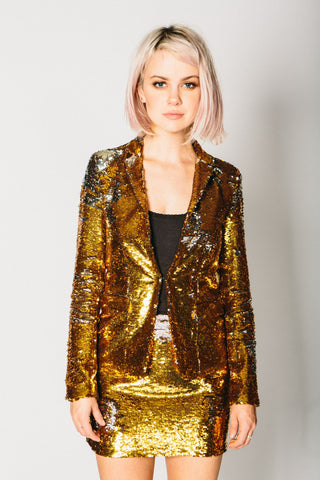 Any Old Iron Gold/Silver Sequin Suit Jacket , Womans Jackets - ANY OLD IRON,  - 1