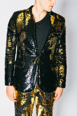 Any Old Iron Gold/Black Sequin Suit Jacket , Mens Jackets - ANY OLD IRON,  - 1