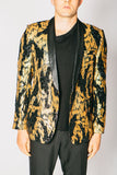 Any Old Iron Black and Gold Sequin Blazer , Mens Jackets - ANY OLD IRON,  - 1