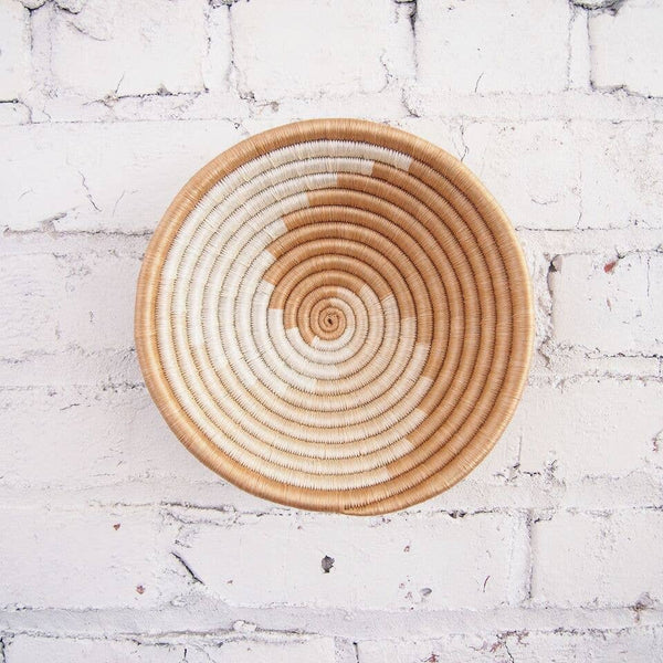 Handwoven Sisal Bowl - Small Natural and White Swirl