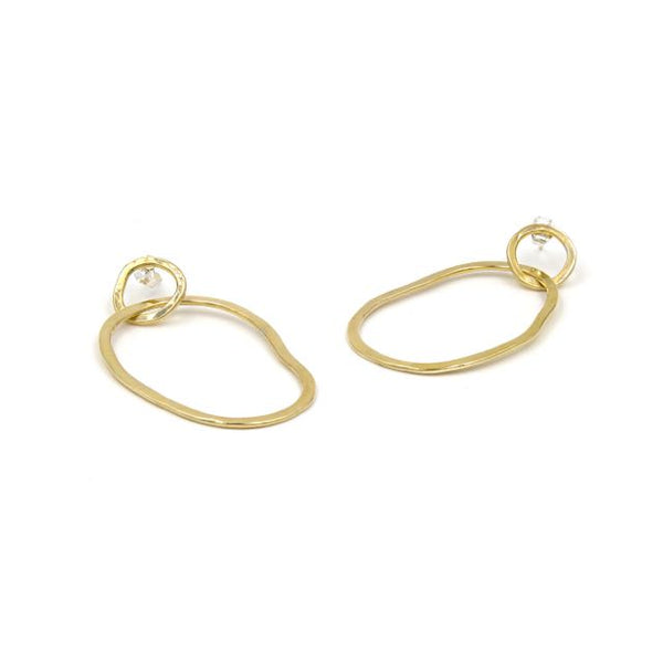 large brass interlocking hoop earrings with irregular oval shape and a small circle at the top