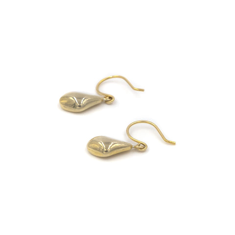 small gold pebble drop earrings