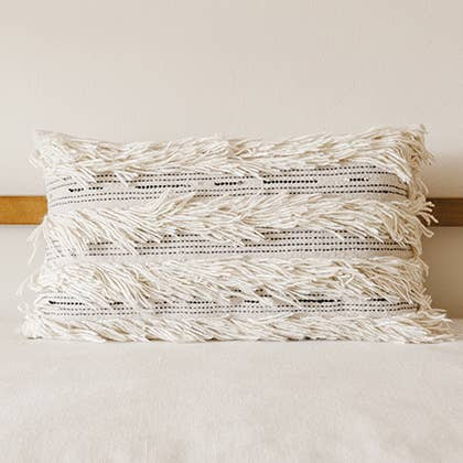 Kiliim - White Fringe Throw pillow cover