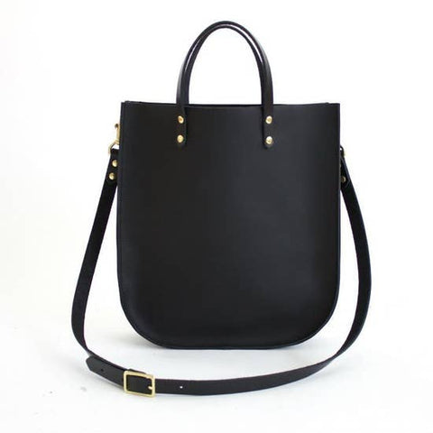 The Bridget Leather Tote - Black with Black Strap