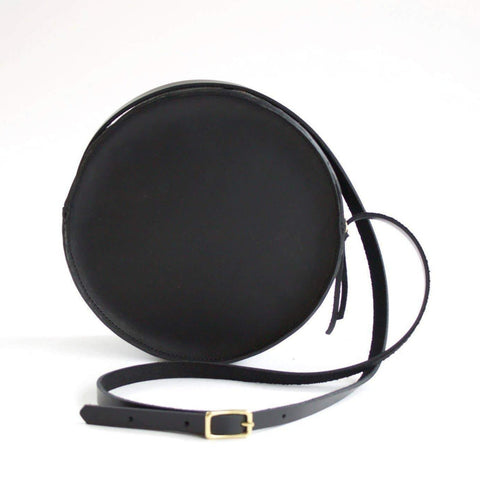 The Marina Leather Circle Bag- Black with Black Strap