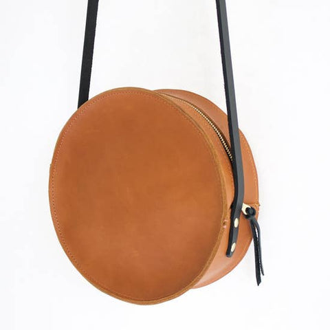 The Marina Leather Circle Bag- Sienna with Black Strap