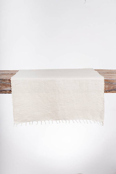 Handwoven Natural Cotton Table Runner with ribbed texture detail