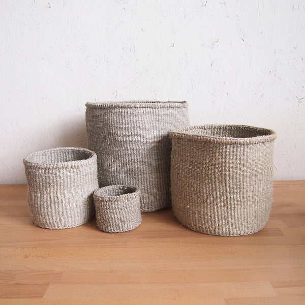 Natural Hand Woven Storage Basket - Extra Small Pebble