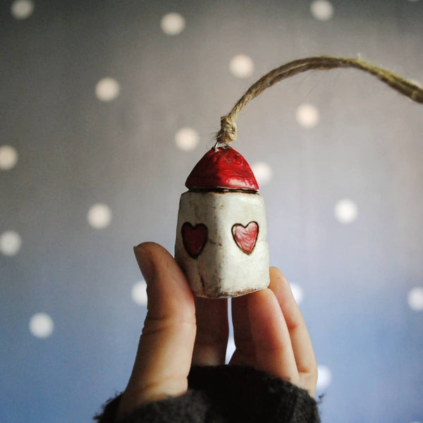 Red Heart Miniature House Christmas Ornament