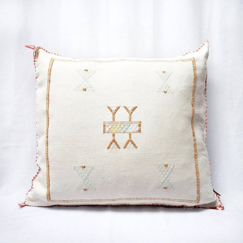 Moroccan Cactus Silk Pillow - White