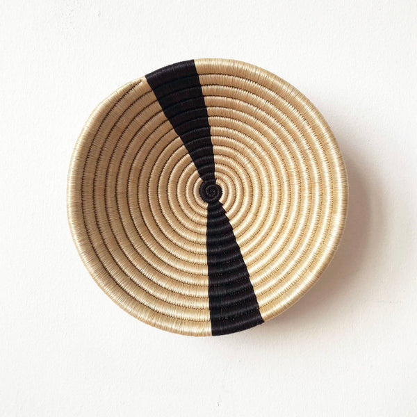 Handwoven Sisal Bowl - Small Natural with Black