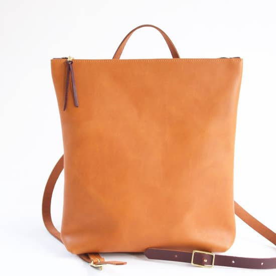 The Nico Leather Backpack- Sienna with Cognac Strap