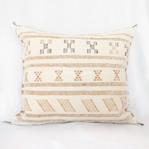Moroccan Cactus Silk Pillow - Cream Striped