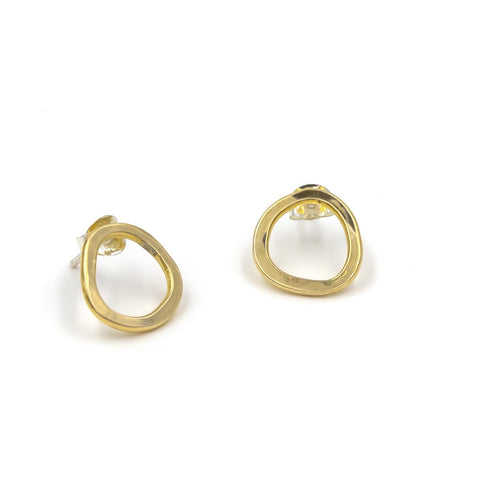 irregular circle stud earrings in brass gold