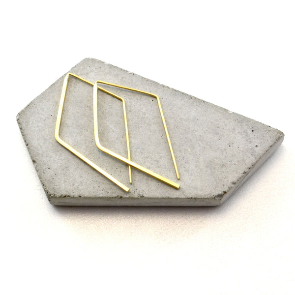 MINIMALIST SOLID BRASS ANGLED Earrings