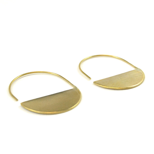 Geometric modern half circle open hoop earrings.