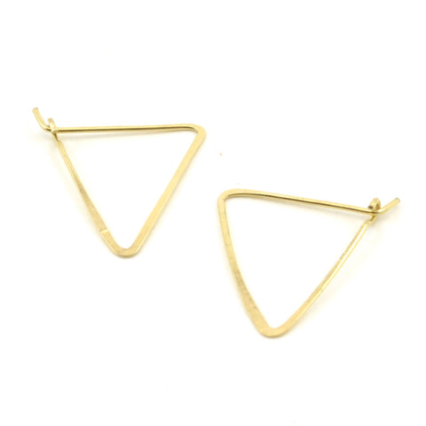 TRIANGLE HOOPS // Geometric Brass Earrings