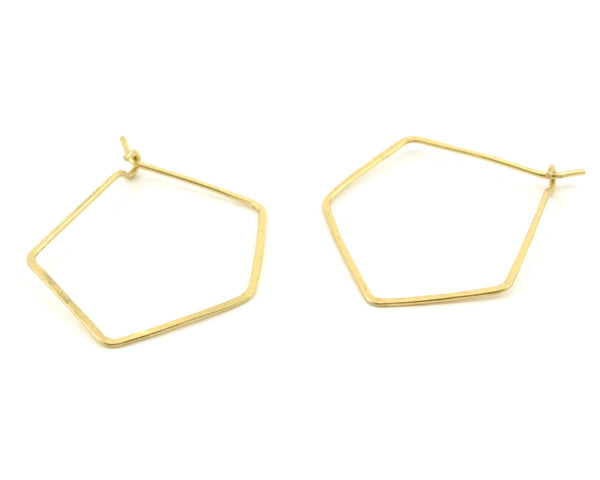 PENTAGON HOOP // Geometric Brass Earrings