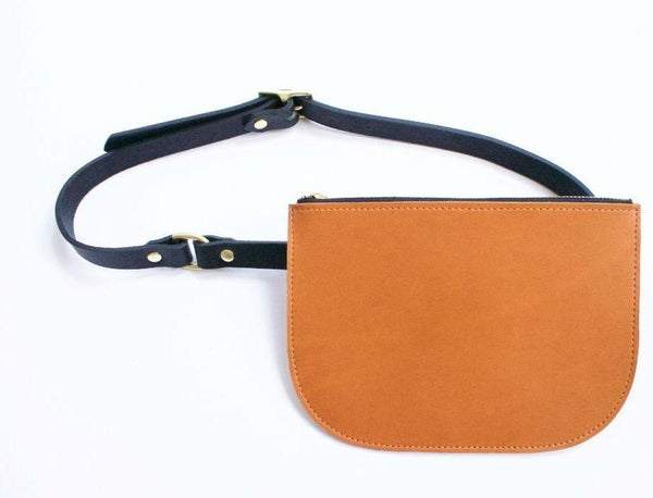 The Millie Leather Fanny Pack - Sienna with Cognac Strap