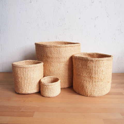 Natural Hand Woven Storage Basket - Large Oat