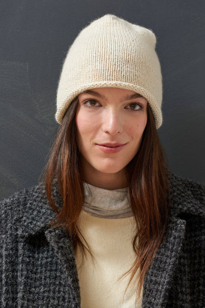 Hand Knit Cashmere and Baby Alpaca Beanie in Cream