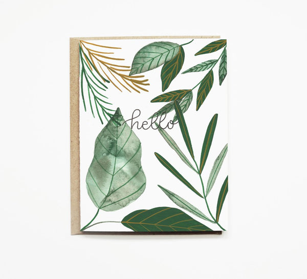 Pen + Pillar - Tropical Leaves Greeting Card - Hello