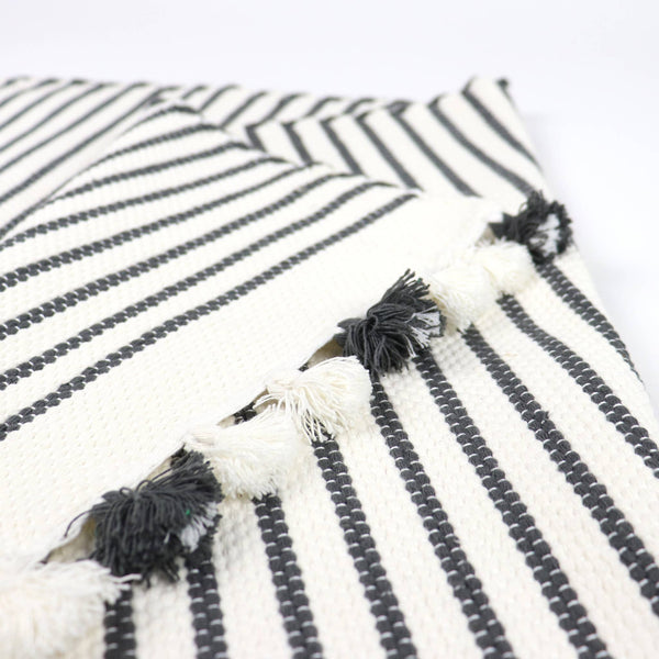 Bathroom Mat in Grey and Natural with tassels
