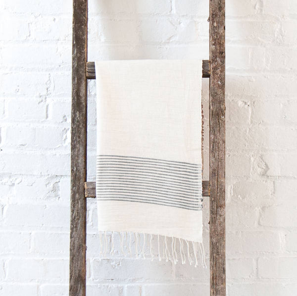 Handwoven cotton hand towel in - Natural with Grey Stripes