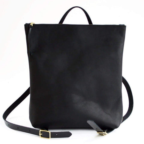 The Nico Leather Backpack- Black with black strap