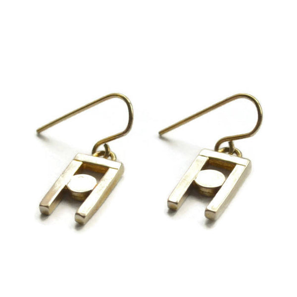 small brass dangle earrings  structural