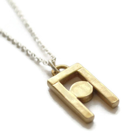 structural cast brass pendant necklace on 18 inch sterling silver chain