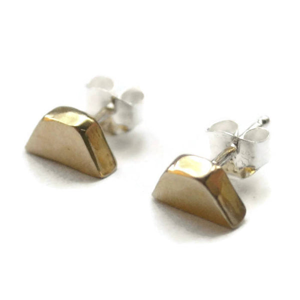 cast brass block stud earrings with sterling silver posts