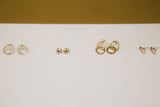 gold and sterling silver stud earrings circles and pebbles