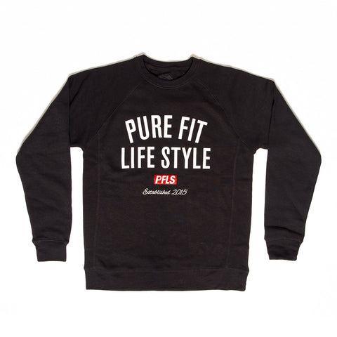 CREST FLEECE CREW NECK - BLACK