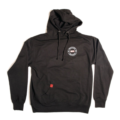 CREST PULL OVER FLEECE HOODIE - BLACK