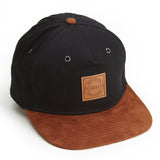 LEATHER CREST STRAP BACK - BLACK