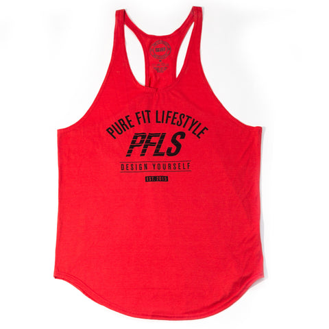 "DESIGN YOURSELF"" STRINGER TANK TOP-RED"
