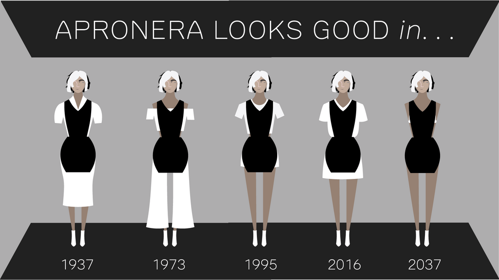 Apronera Looks Good in...1937...1973...1995...2016...2037