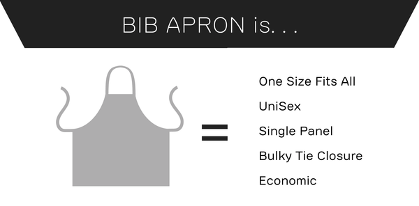 Bib Apron is one size fits all, unisex, unflattering and economic