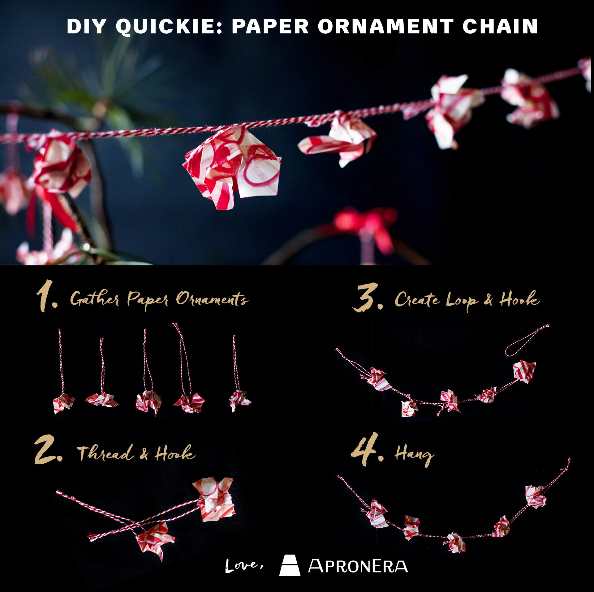 How to Make a Paper Garland with Paper Ornaments-Holiday DIY