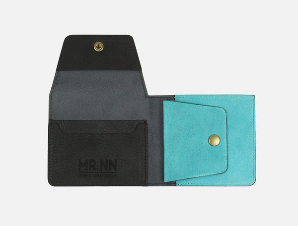 The Pocket Wallet - Black Turquoise Leather